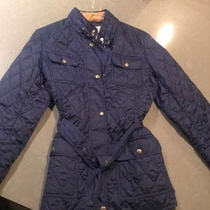 Banana Republic Navy Quilted Light Coat